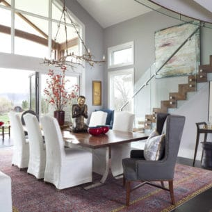 Dramatic dining room with a view
