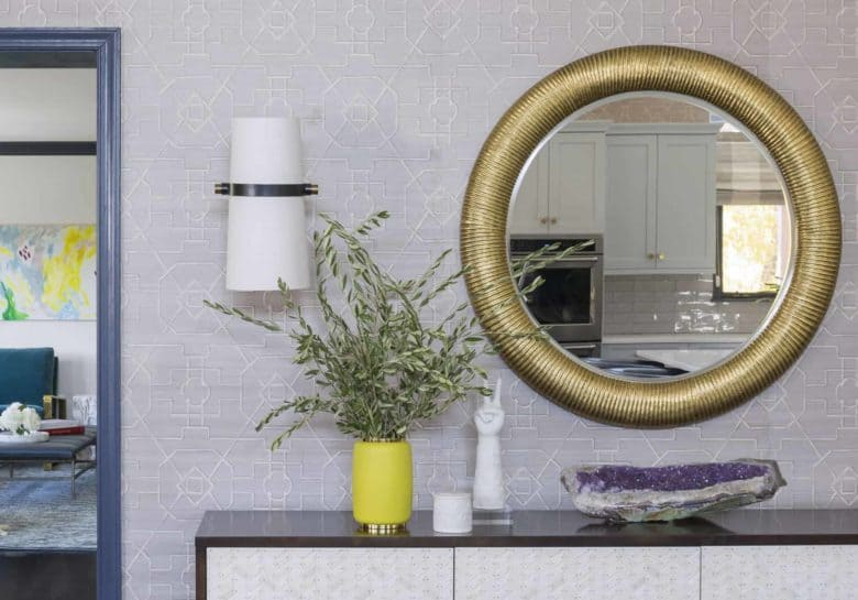 Large Round Thick Band Antique Brass Entry Mirror