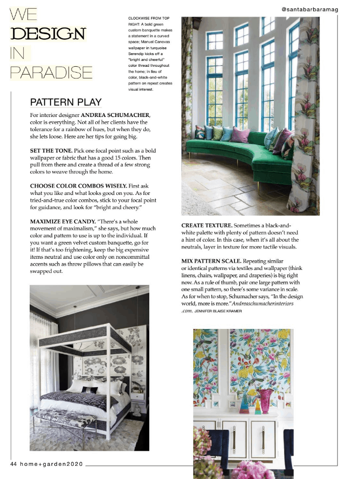 Andrea Schumacher article in Santa Barbara interior design magazine
