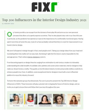 Fixr Top Inteior Design Influencer Article