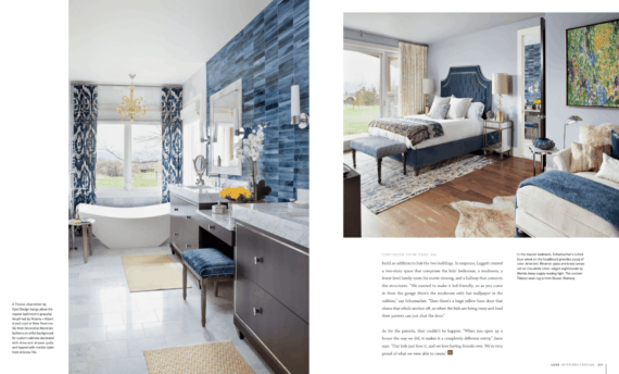 Gorgeous master bedroom with en suite designed by Denver interior decorators
