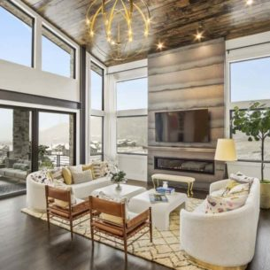 Contemporary new build great room design with mod furnishings